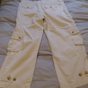 Lauren Ralph Lauren Cream Cargo Ankle Pants